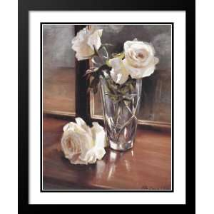 and Double Matted Art 25x29 Glass Vase White Roses