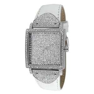 Ladies Swarovski Crystal Square & White Leather Band Watch J5667WT