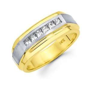 Set 14k Two Tone Gold Mens Diamond Wedding Ring Band .46 ct (G H, SI1