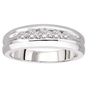 14k White Gold Diamond Mens Ring (1/2 cttw, H I Color, I1