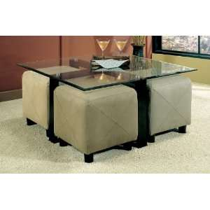 Contemporary Square Metal Coffee Table with Glass Top