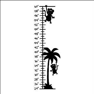 Palm Tree With Monkeys Growth Chart Wall Decal Sticker Removable Wall