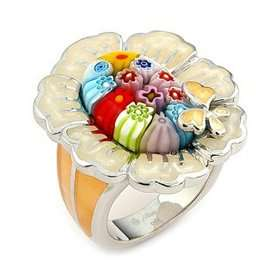 Color Millacreli Murano Glass Flower Sterling Silver Ring, Size 8