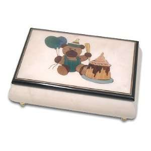 Lovely Teddy Bear w. Cake Musical Jewelry Box