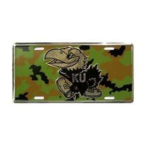 6x12) Kansas University Camo NCAA Chrome License Plate