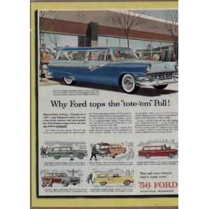 passenger Country Sedan.  1956 FORD Station Wagons Ad, A3725