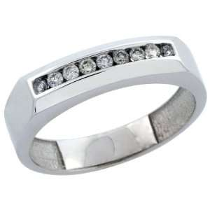 10k White Gold 9 Stone Mens Diamond Ring Band w/ 0.24 Carat Brilliant