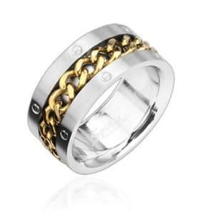 316L Stainless Steel Ring with Gold Spinning Chain Center, 13 Jewelry