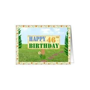 Happy 46th Birthday Sign on Footpath Card Toys & Games