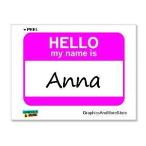 Hello My Name Is Anna   Window Bumper Laptop Sticker