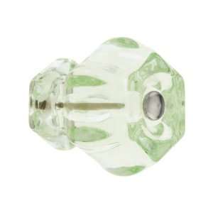 Large Hexagonal Depression Green Glass Cabinet Knob With