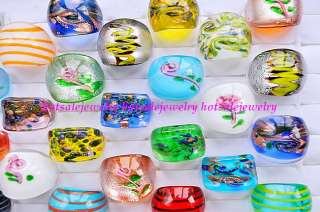 50pcs Sz#7 #9 colored Exquisite pretty murano glass rings New