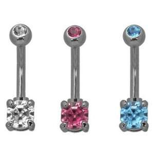 316L Implant Grade Surgical Steel Mini Round Gem Belly Ring with Mini