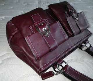 COACH LRG BURGUNDY WINE LEATHER DOUBLE POCKET BUSINESS PURSE BAG